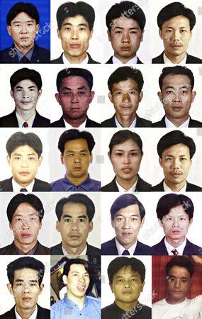 20 of the 21 cockle pickers that died. The victims are (First Row L-R) Lin Guo Guang, Guo Bing Long, Guo Chang Mau and Lin You xing. (Second Row L-R) Wu Hong Kang, Chen Mu Yu, Wu Jia Zhen and Guo Nian Zhu. (Third Row L-R) Yu Hui, Lin Li Sui, Wang Xiu Yu and Lin You Xing. (Fourth Row L-R) Cao Chao Kun, Wang Ming Lin, Xie Xiao Wen and Lin Zhi Fang. (Fifth Row L-R) Zhou Xun Chao, Yang Tian Long, Lin Guo Hua and Xu Yu Hua