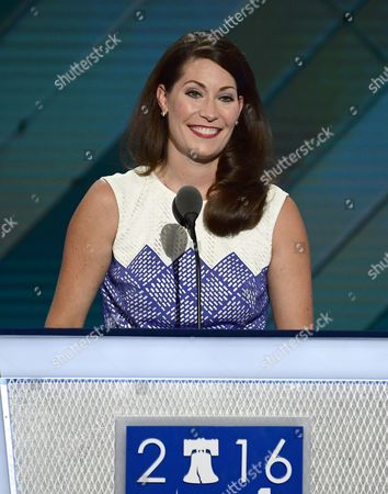 Secretary of State Alison Lundergan Grimes (Democrat of Kentucky) makes remarks during the second session of the 2016 Democratic National Convention at the Wells Fargo Center in Philadelphia, Pennsylvania.