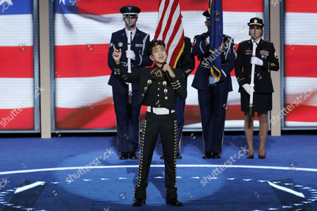 Stock Picture of Sebastien De La Cruz sings the National Anthem during the third day of the Democratic National Convention in Philadelphia