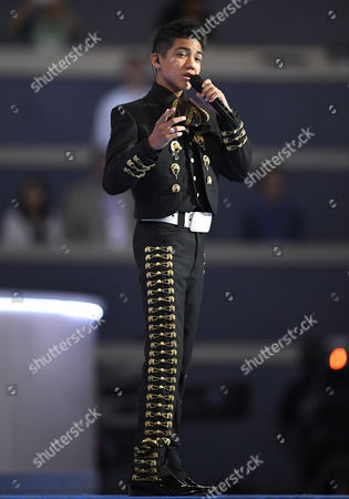 Stock Photo of Sebastien De La Cruz sings the National Anthem during the third day of the Democratic National Convention in Philadelphia