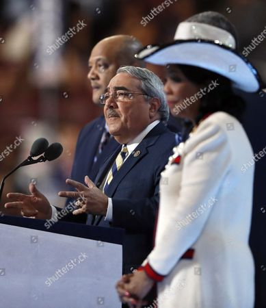 Congressional Black Caucus Chairman Rep. G. K. Butterfield, D-NC., center, speaks during the third day of the Democratic National Convention in Philadelphia