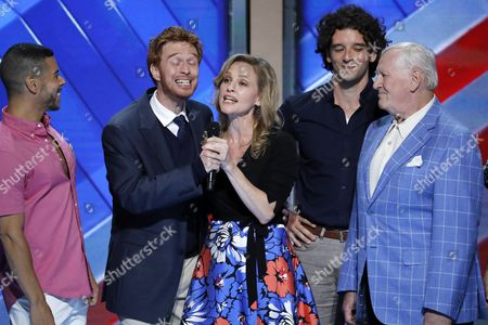 Wilson Cruz, from left, Paul Castree, Anika Larsen, Michael Urie and Len Cariou appear during the third day of the Democratic National Convention in Philadelphia