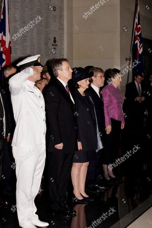 Tony Blair, Cherie Blair, Peter Davis, husband of Helen Clark, and Helen Clark, New Zealand Prime Minister, at a wreath laying ceremony at Auckland War Memorial Museum