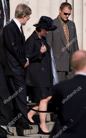 Peter Davis, husband of New Zealand Prime Minister Helen Clark, and Cherie Blair leaving Auckland War Memorial Museum after a wreath laying ceremony