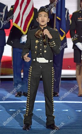 Sebastien De La Cruz sings the National Anthem to open the third session of the 2016 Democratic National Convention at the Wells Fargo Center in Philadelphia, Pennsylvania