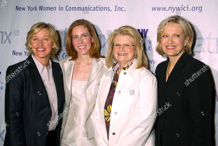 Ellen DeGeneres, Betsy Morgan, NYWICI President, Geraldine Laybourne Chairman and CEO, Oxygen Media and Diane Sawyer