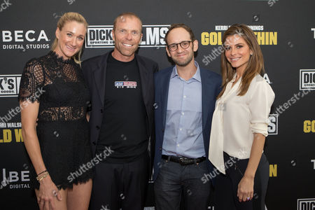 "From left, Kerri Walsh Jennings, husband Casey Jennings, director Gabe Spitzer, and TV personality Maria Menounos attend the DICK'S Sporting Goods Films and Tribeca Digital Studios world premiere of sports documentary ""Kerri Walsh Jennings: Gold Within"" at the Paley Center for Media on , in Beverly Hills, Ca"