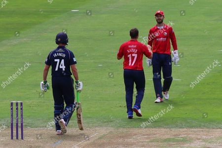 Stock Image of Graham Napier of Essex celebrates taking the wicket of James Franklin during Middlesex vs Essex Eagles, Royal London One-Day Cup Cricket at Lord's Cricket Ground on 31st July 2016