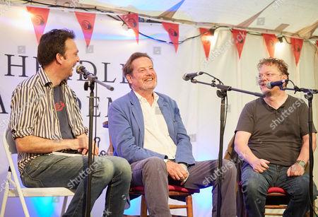 Tom Hodgkinson of the Idler, John Brown and Chris Donald of Viz Magazine, at the Viz Magazine Talk, Idler Academy