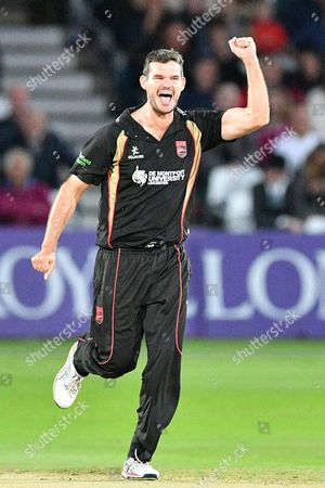 Clint McKay celebrates the wicket of Riki Wessels (not shown) during the Natwest T20 Blast North Group match between Nottinghamshire County Cricket Club and Leicestershire County Cricket Club at Trent Bridge, West Bridgford