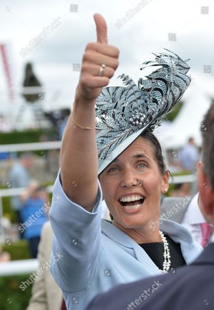 Anna-Lisa Balding, wife of the trainer, after Dancing Star had won The Qatar Stewards? Cup on Day 5 of The Qatar Goodwood Festival Meeting at Goodwood Racecourse on Saturday 30th July 2016.
