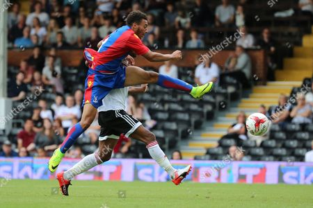Crystal Palace player, Keshi Anderson scoring Palace goal 2-1 during the Pre-Season Friendly match between Fulham and Crystal Palace at Craven Cottage, London