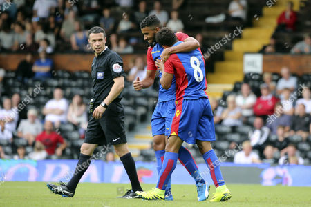 Crystal Palace player, Keshi Anderson celebrating scoring palace goal 2-1 during the Pre-Season Friendly match between Fulham and Crystal Palace at Craven Cottage, London