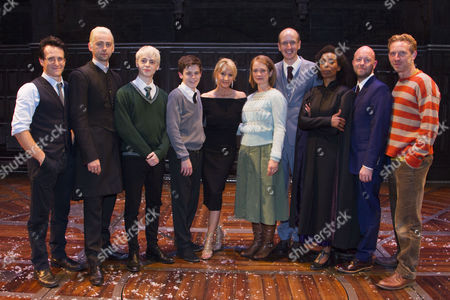 Jamie Parker (Harry), Anthony Boyle (Draco), Alex Price (Scorpius), Sam Clemmett (Albus), J.K. Rowling (Author), Poppy Miller (Ginny), Jack Thorne (Author), Noma Dumezweni (Hermione), John Tiffany (Author/Director) and Paul Thornley (Ron) backstage