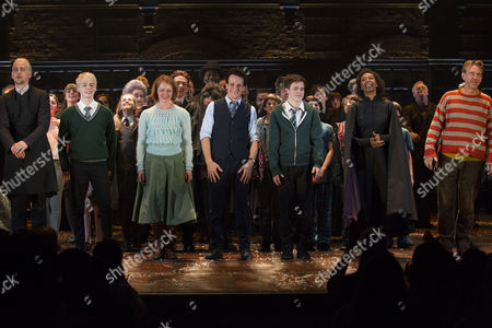 Anthony Boyle (Draco), Alex Price (Scorpius), Poppy Miller (Ginny), Jamie Parker (Harry), Sam Clemmett (Albus), Noma Dumezweni (Hermione) and Paul Thornley (Ron) during the curtain call