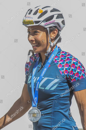 Dame Kelly Holmes is happy at the finish of her ride