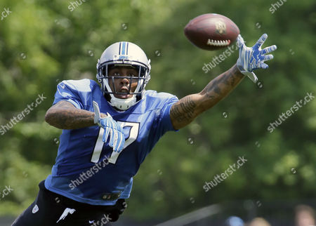Stock Photo of Detroit Lions wide receiver Andre Caldwell reaches out to catch a pass during NFL football training camp , in Allen Park, Mich