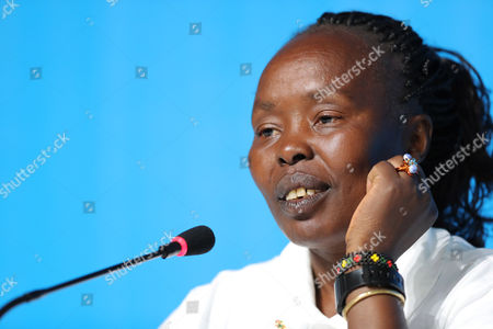 The chef de mission of the Olympic Refugee Team, former Kenyan marathon world record-holder Tegla Loroupe attends a news conference at the Main Press Centre (MPC) at Olympic Parc Barra