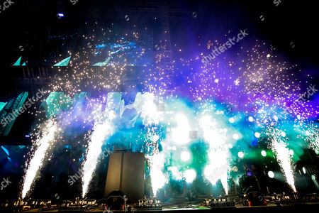 Pyrotechnics as Porter Robinson performs