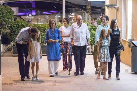 King Felipe VI, Princess Leonor, Princess Sofia, Former Queen Sofia, Queen Letizia, Former King Juan Carlos I, Prince Felipe Juan Froilan, Princess Victoria Federica, Princess Elena