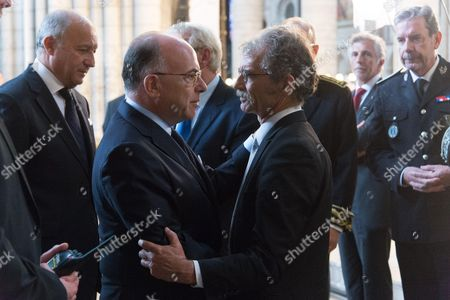 French Interior minister, Bernard Cazeneuve, with Hubert Wulfranc, Mayor of Saint-Etienne-du-Rouvray. The funeral of Father Jacques Hamel, the 85-year-old priest who was murdered by two jihadists at church in Saint-Etienne-du-Rouvray