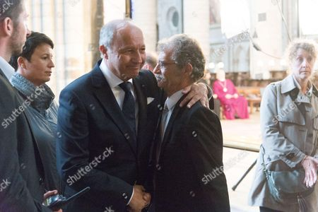 Laurent Fabius with Hubert Wulfranc, Mayor of Saint-Etienne-du-Rouvray. The funeral of Father Jacques Hamel, the 85-year-old priest who was murdered by two jihadists at church in Saint-Etienne-du-Rouvray