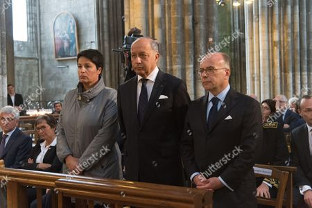 French Junior minister for Local Authorities Estelle Grelier, Laurent Fabius, French Interior minister, Bernard Cazeneuve. The funeral of Father Jacques Hamel, the 85-year-old priest who was murdered by two jihadists at church in Saint-Etienne-du-Rouvray