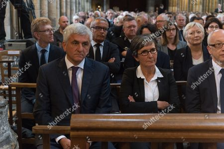 President of the Normandie regional council Herve Morin, former mayor of Rouen Valerie Fourneyron, The funeral of Father Jacques Hamel, the 85-year-old priest who was murdered by two jihadists at church in Saint-Etienne-du-Rouvray