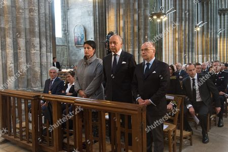Stock Picture of President of the Normandie regional council Herve Morin, former mayor of Rouen Valerie Fourneyron, French Junior minister for Local Authorities Estelle Grelier, Laurent Fabius, French Interior minister, Bernard Cazeneuve, . The funeral of Father Jacques Hamel, the 85-year-old priest who was murdered by two jihadists at church in Saint-Etienne-du-Rouvray
