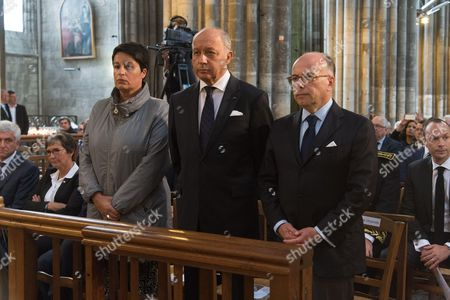 President of the Normandie regional council Herve Morin, former mayor of Rouen Valerie Fourneyron, French Junior minister for Local Authorities Estelle Grelier, Laurent Fabius, French Interior minister, Bernard Cazeneuve, . The funeral of Father Jacques Hamel, the 85-year-old priest who was murdered by two jihadists at church in Saint-Etienne-du-Rouvray