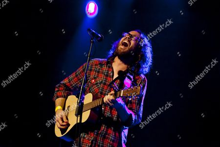 Jarrad Kritzstein, guitarist and backing vocals of the U.S. singer-songwriter Audra Mae, performing live in the Schueuer Concert Hall, Lucerne, Switzerland