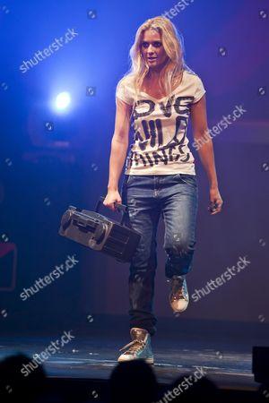 Christa Rigozzi, former Miss Switzerland, model and presenter, here performing a ''Super Talent'' parody, live performance, Das Zelt, events venue, Rock Circus in Lucerne, Switzerland