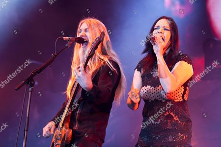 Bass player Marco Hietala and singer Anette Olzon from the Finnish symphonic metal band Nightwish performing live at the Hallenstadion concert hall, Zurich, Switzerland