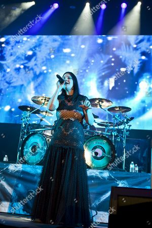 Anette Olzon, singer of the Finnish symphonic metal band Nightwish, performing live at the Hallenstadion concert hall, Zurich, Switzerland