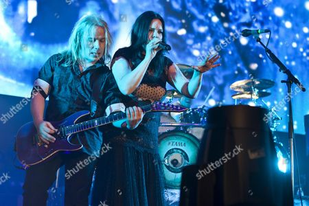 Guitarist Emppu Vuorinen and singer Anette Olzon from the Finnish symphonic metal band Nightwish performing live at the Hallenstadion concert hall, Zurich, Switzerland