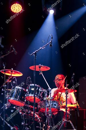 Drummer of the Jamaican Reggae singer Max Romeo playing live at the Soundcheck open air festival in Sempach-Neuenkirch, Lucerne, Switzerland