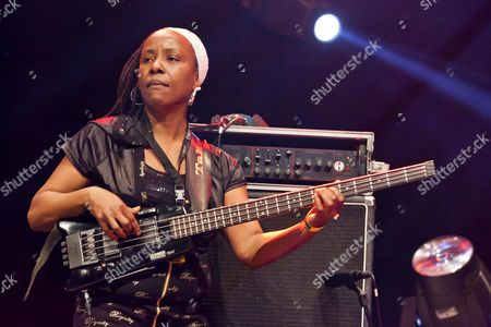 Diane White, bassist of the Jamaican Reggae singer Max Romeo playing live at the Soundcheck open air festival in Sempach-Neuenkirch, Lucerne, Switzerland