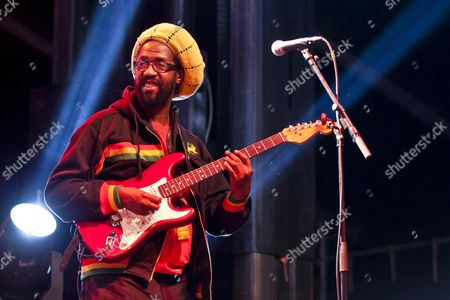 Guitarist of the Jamaican Reggae singer Max Romeo playing live at the Soundcheck open air festival in Sempach-Neuenkirch, Lucerne, Switzerland