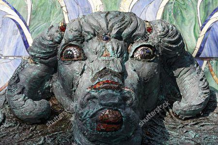 Head of a fantasy figure, Nymphaeum Omega fountain, Ernst Fuchs Museum, former mansion of architect Otto Wagner, Vienna, Austria