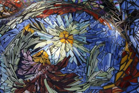 Floral mosaic floor, Nymphaeum Omega fountain, Ernst Fuchs Museum, former mansion of architect Otto Wagner, Vienna, Austria