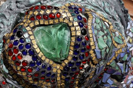 Mosaic with pearls and a green glass stone, Nymphaeum Omega fountain, Ernst Fuchs Museum, former mansion of architect Otto Wagner, Vienna, Austria