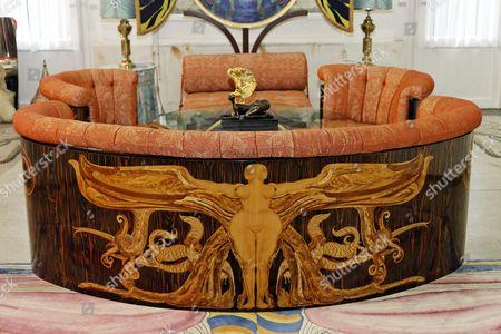 Ornamental sofa, Adolf Boehm-Saal hall, Ernst Fuchs Museum, former mansion of architect Otto Wagner, Vienna, Austria