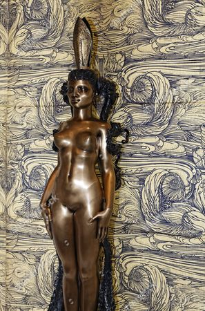Woman sculpture in the Grand Salon, Ernst Fuchs Museum, former mansion of architect Otto Wagner, Vienna, Austria