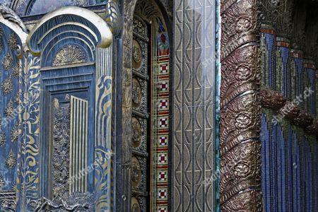 Decorative ceramic tiles, Nymphaeum Omega fountain, Ernst Fuchs Museum, former mansion of architect Otto Wagner, Vienna, Austria