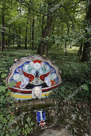 Bench with ceramic tiles in the wood, Ernst Fuchs Museum, former mansion of architect Otto Wagner, Vienna, Austria