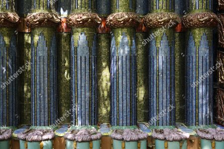 Stock Image of Columns with decorative ceramic tiles, Nymphaeum Omega fountain, Ernst Fuchs Museum, former mansion of architect Otto Wagner, Vienna, Austria