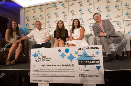 EuroMillions Jackpot winners, left to right, Stephanie Davies, Steve Powell, Courtney Davies, Sonia Davies and Keith Reynolds of Monmouth during the press conference to announce their £61 million jackpot win