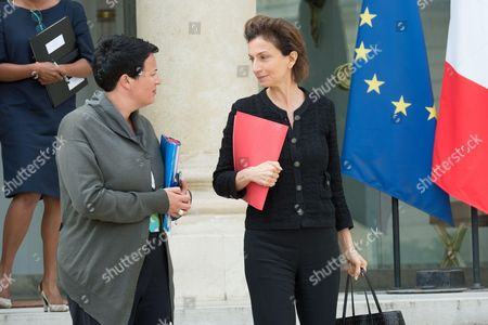 French Junior minister for Local Authorities Estelle Grelier and France's Culture Minister Audrey Azoulay leave after the cabinet meeting
