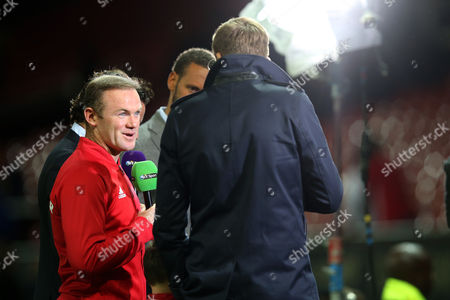 Stock Photo of Wayne Rooney is interviewed for BT Sport by Jake Humphries after the Wayne Rooney testimonial match between Manchester United and Everton played at Old Trafford, Manchester on August 3rd 2016