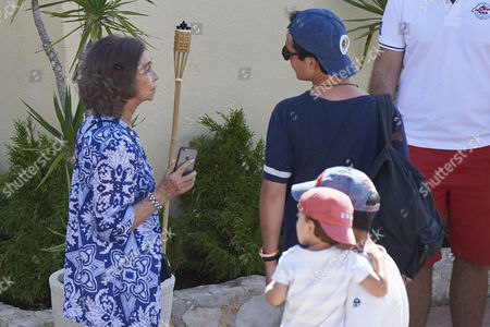 Stock Photo of Former Queen Sofia of Spain and Prince Felipe Juan Froilan